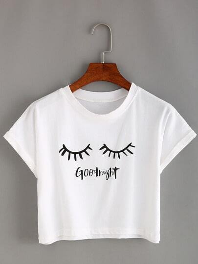 Eyelash Print Crop T-shirt