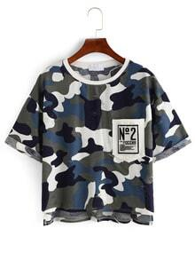 Camouflage High-Low Pocket T-shirt