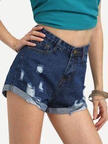 Frayed Rolled Hem Denim Shorts