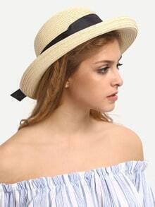 Ribbon Accent Straw Hat