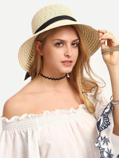 Ribbon Accent Classic Straw Hat