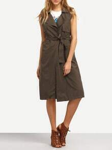 Layered Sleeveless Trench Coat