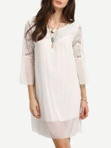 Lace Insert Bell Sleeve Swing Chiffon Dress - White