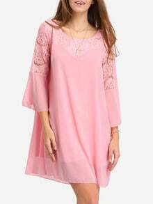 Lace Insert Bell Sleeve Swing Chiffon Dress - Pink