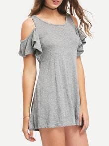 Ruffle Open Shoulder T-shirt Dress