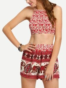 Tribal Print Halter Crop Top With Shorts