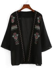 Tribal Embroidery Chiffon Kimono