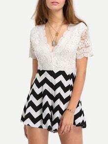 Backless Lace Top Chevron Print Romper