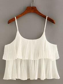 Layered Pleated Chiffon Cami Top