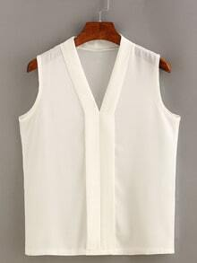 Plain Layered Placket Sleeveless Blouse