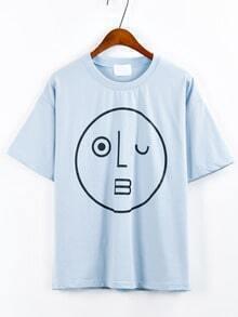 Wink Emoticons Print Drop Sleeve T-shirt - Blue