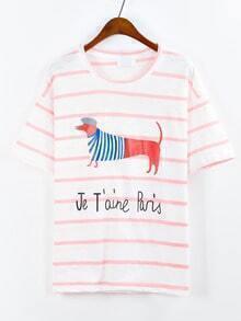 Pink Striped Dog Print T-shirt