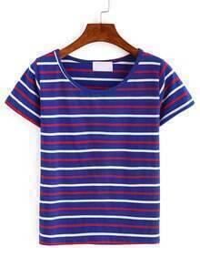 Stiped Print Short Sleeve T-shirt - Blue