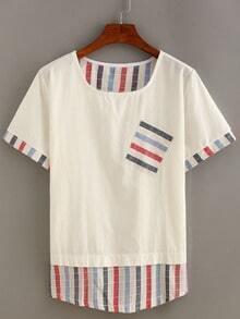 Striped Trimmed Pocket T-shirt