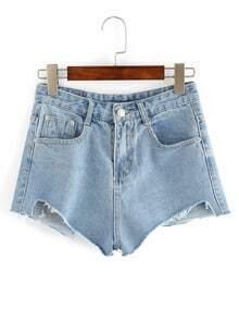 Frayed Light Blue Shorts