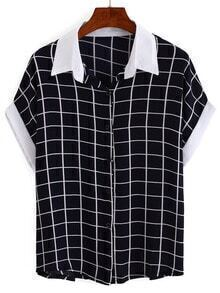Contrast Collar & Sleeve Grid Blouse