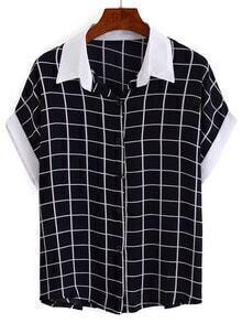 Contrast Collar & Sleeve Grid Blouse