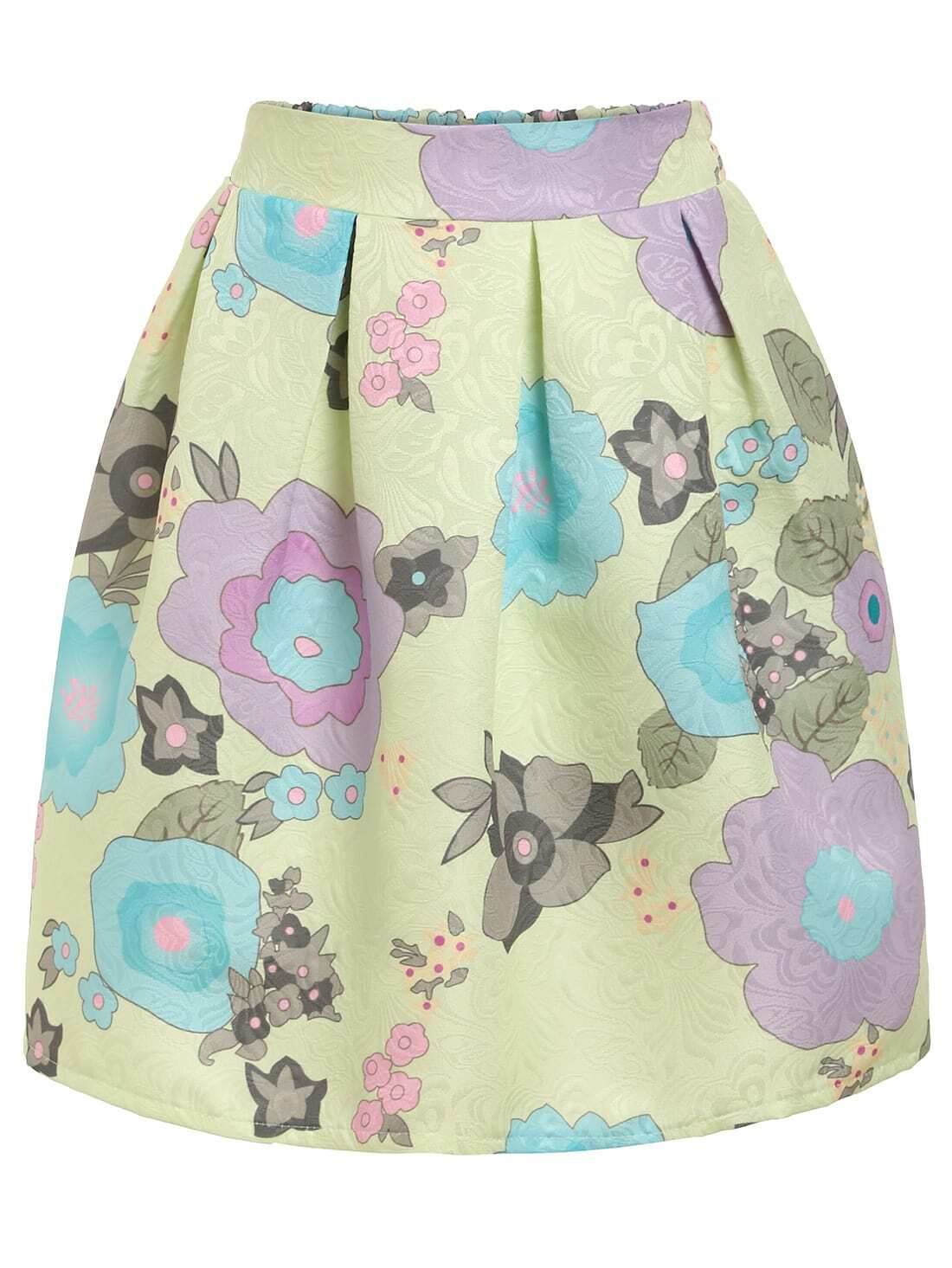 Bloom Print Box Pleat Skirt - Green