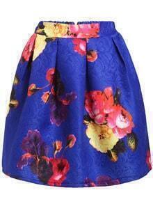 Bloom Print Box Pleat Skirt - Royal Blue
