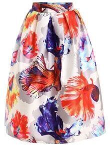 Goldfish Print Box Pleat Midi Skirt