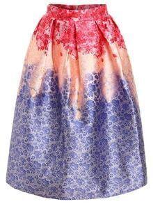 Ombre Flower Print Box Pleat Midi Skirt