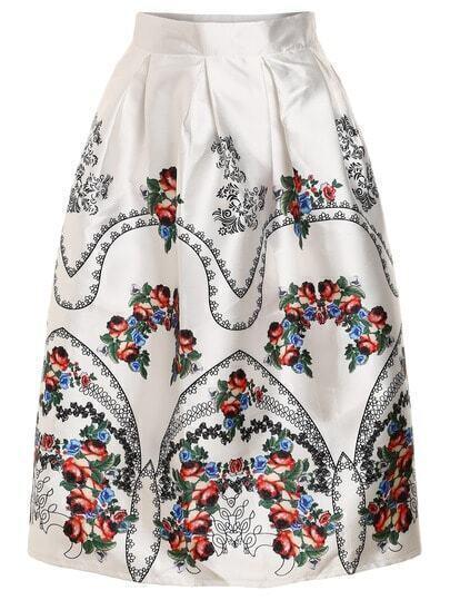 Vintage Flower Print Box Pleat Midi Skirt
