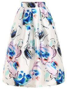 Abstract Print Box Pleat Midi Skirt
