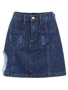 Frayed Dual Pocket Denim Skirt