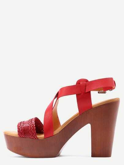 Braided Crisscross Cork Heel Sandals - Red