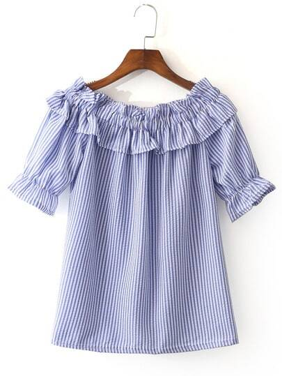 Blue White Stripe Short Sleeve Ruffle Boat Neck Blouse pictures