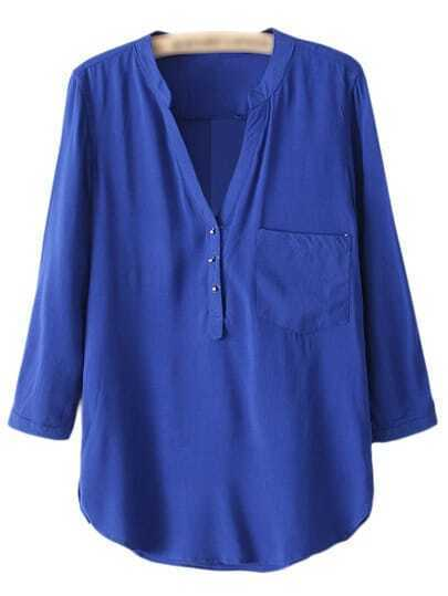 Royal Blue V Neck Buttons Front Dip Hem Blouse