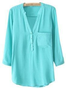 Grass Green V Neck Buttons Front Dip Hem Blouse