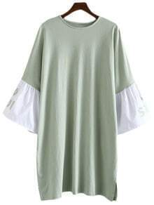 Green Letters Printing Bell Sleeve Dress