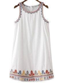 White Zipper Back Embroidery Tank Dress