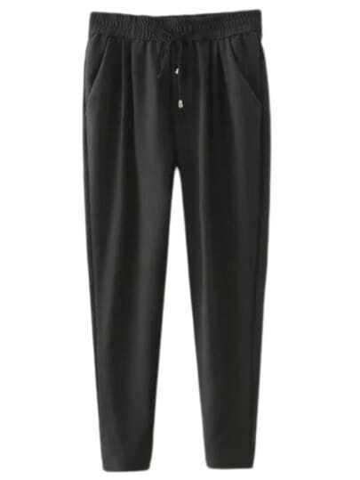 Black Elastic Tie-Waist Pockets Pants