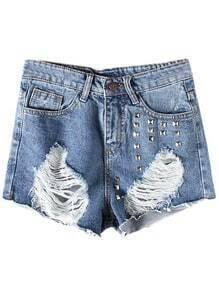 Blue Pockets Rivets Ripped Hole Denim Shorts