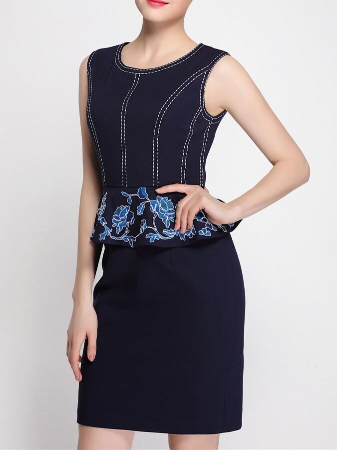 Navy Disc Flowers Peplum Embroidered Sheath DressNavy Disc Flowers Peplum Embroidered Sheath Dress<br><br>color: Navy<br>size: S
