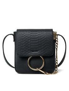 Crocodile Embossed Ring Chain Bag - Black