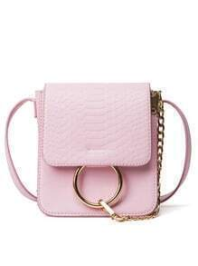 Crocodile Embossed Ring Chain Bag - Pink