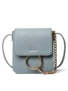 Crocodile Embossed Ring Chain Bag - Grey