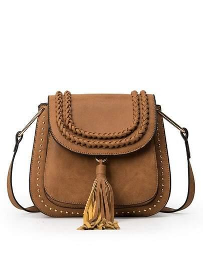 Braided Tassel Trimmed Studded Saddle Bag - Brown