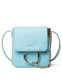 Crocodile Embossed Ring Chain Bag - Blue