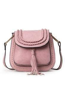Braided Tassel Trimmed Studded Saddle Bag - Pink