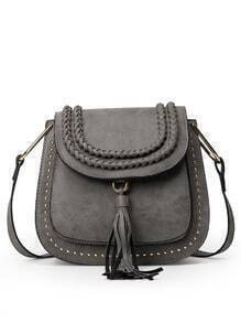 Braided Tassel Trimmed Studded Saddle Bag - Grey
