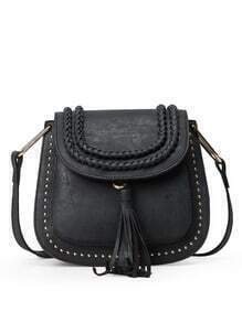 Braided Tassel Trimmed Studded Saddle Bag - Black