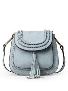 Braided Tassel Trimmed Studded Saddle Bag - Light Blue