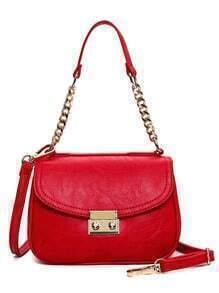 Metal Lock Chain Flap Bag - Red