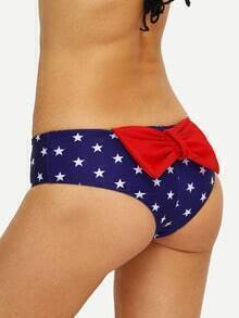 Star Print Bow-Knot Back Bikini Bottom