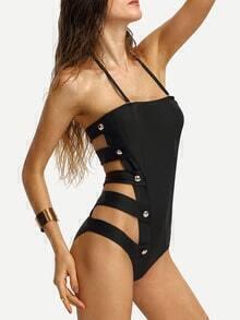 Halter Ladder-Cutout Buttoned One-Piece Swimwear