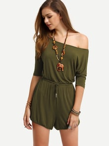 Army Green Boat Neck Tie Jumpsuit